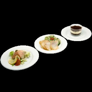 plateau repas iris (tartare de saumon, tranches cabillaud fumé, tiramisu) pour vos repas, livraison en entreprise à Tours, 37
